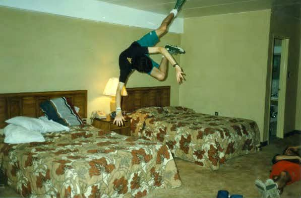 Jeff doing a bed flip in DC hotel 87